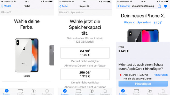 Apple iPhone X im Store vorbestellen © Screenshot Apple Store