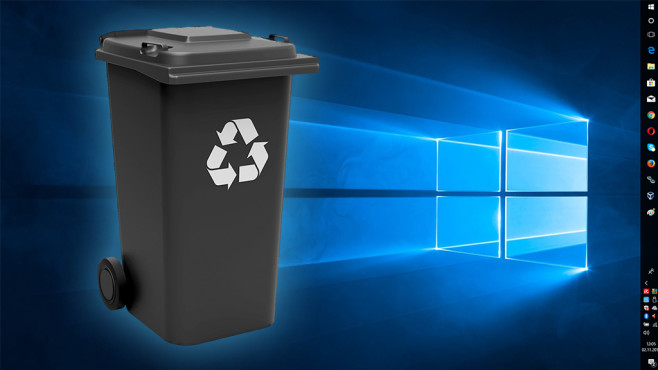 Kostenloses Wegwerf-Windows: Das widerstandsfähige Betriebssystem ©Fotolia--Thomas Söllner-Mülltonne schwarz