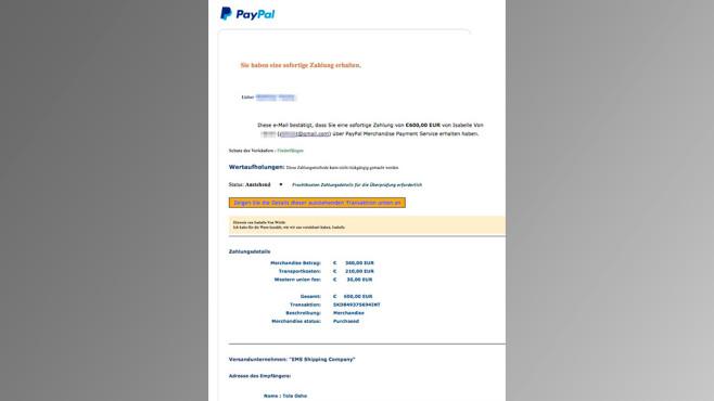 PayPal-Betrug: Hinweise in Fake-Zahlungsbestätigung ©Polizei Niedersachen