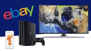 Ebay-Logo mit Fernseher, PS4 und iPhone 6S ©Ebay, Sony, Samsung, Apple, COMPUTER BILD