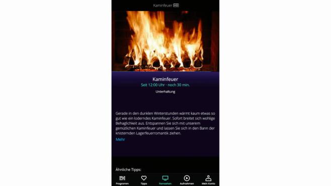 Waipu.tv: 10 Tipps zum schöner Streamen Schön gemütlich am Feuer sitzen – ganz einfach am TV-Kamin von Waipu.©Waipu.tv
