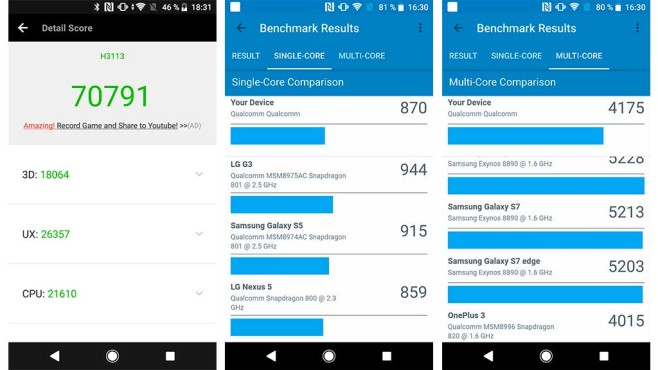 Sony Xperia XA2: Leistungstests AnTuTu Geekbench 4 ©COMPUTER BILD
