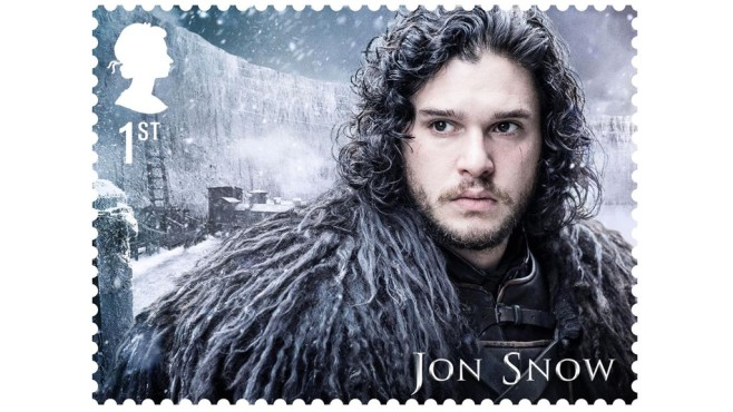 Jon Snow auf Briefmarke © Royal Mail