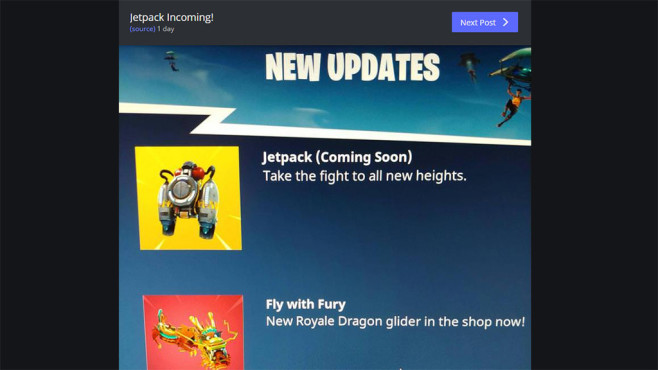 Fortnite Jetpack © Epic Games