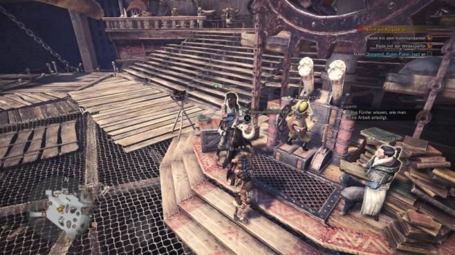 Monster Hunter – World: Monstermäßige Tipps & Tricks – so schlagen Sie sich durch! In der Ressourcenzentrale gibt es unmengen an Aufträgen, die man leicht übersieht. Diese Aufträge sind aber eine der Hauptquellen für Rüstungskugeln. Die Ressourcenzentrale finden Sie im Basislager. ©Capcom