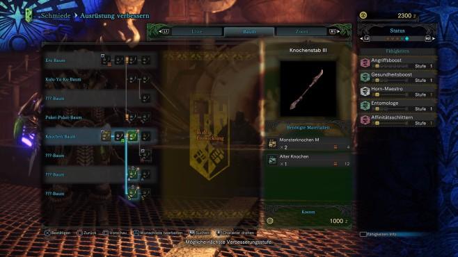 Monster Hunter – World: Monstermäßige Tipps & Tricks – so schlagen Sie sich durch! Nachdem Sie ein paar Missionen absolviert haben, wird es Zeit, sich in den Waffenfertigungsbaum reinzufuchsen. Besuchen Sie den Schmied und schauen Sie im Verbesserungsmenü nach Ihrer Waffe. Sie können aber auch recht früh schon bessere Waffen schmieden und den nächsten Skilltree dafür freischalten. Top: Jetzt sehen Sie endlich auch – mit den richtigen Items in der Tasche – wie sich Ihre Waffe weiterentwickeln wird. Achtung: Sollte eine Verbesserungsstufe nicht verfügbar sein, obwohl Ihnen keine Materialien fehlen, befindet sie sich noch in der Entwicklungsstufe. Daddeln Sie noch ein bisschen rum, machen Sie eine Quest und kommen Sie später wieder. ©Capcom