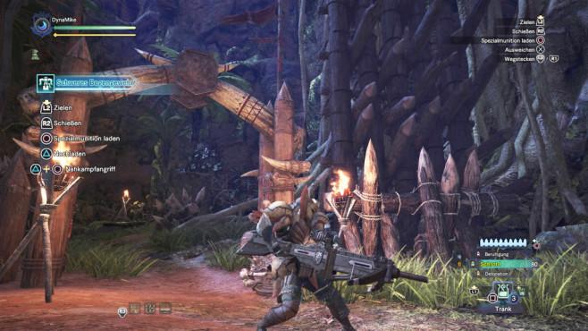 Monster Hunter – World: Die besten Waffen – so schlagen Sie sich durch! Das schwere Bogengewehr ist eine schwere Fernkampfwaffe. ©Capcom