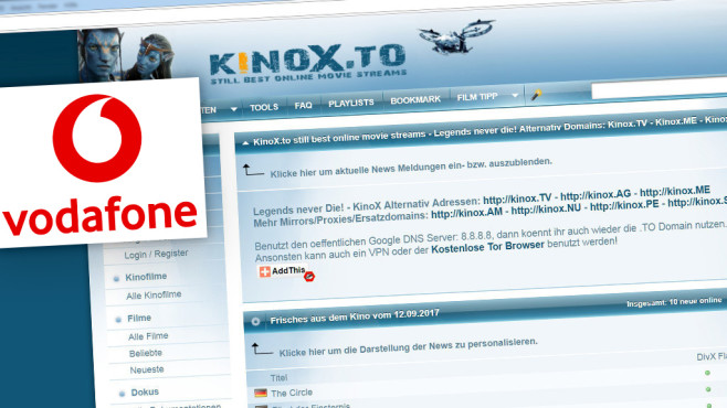 Screenshot der Kinox.to-Webseite © Kinox.to, Vodafone