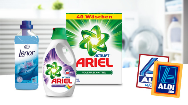 Ariel- und Lenor-Waschmittel ©iStock.com/evgenyatamanenko, ALDI, Procter & Gamble (Lenor, Ariel)