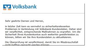Phishing-Mail von der Volksbank ©Mimikama