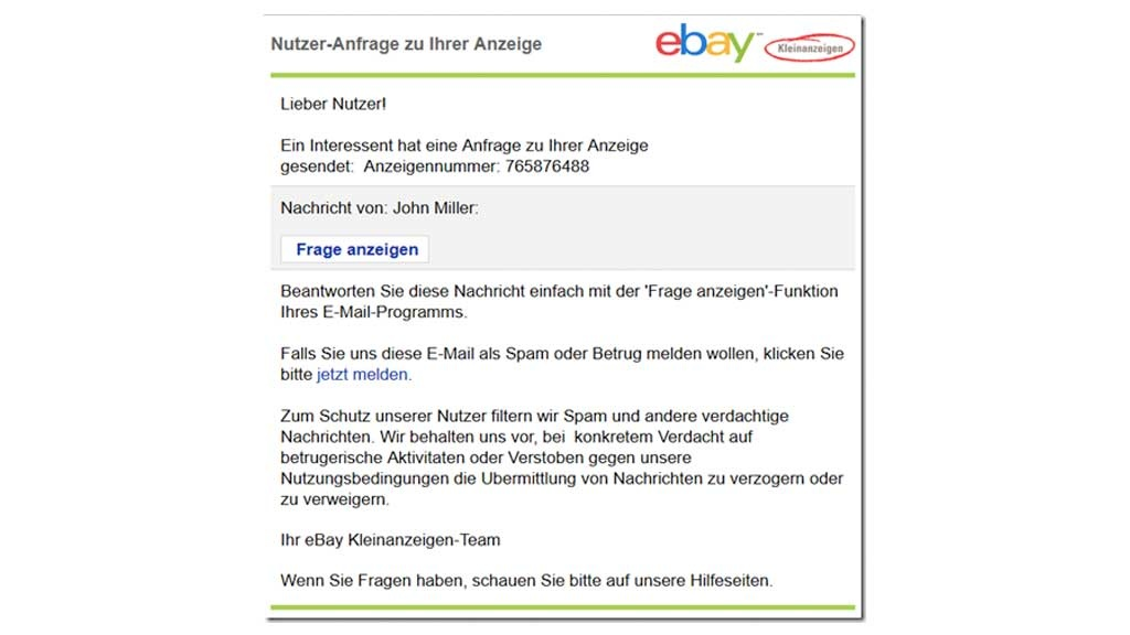 ebay kleinanzeigen phishing mail im umlauf computer bild. Black Bedroom Furniture Sets. Home Design Ideas