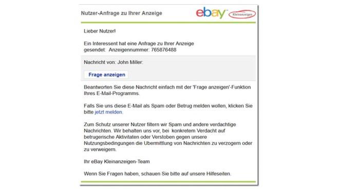 Ebay-Kleinanzeigen: Phishin-Mail ©Mimikama