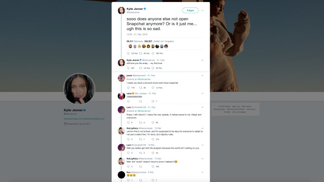 Snapchat: Kylie Jenner lässt Snap-Aktie mit einem Tweet abstürzen