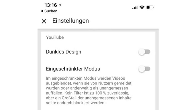 YouTube für iOS: Dunkles Design ©COMPUTER BILD