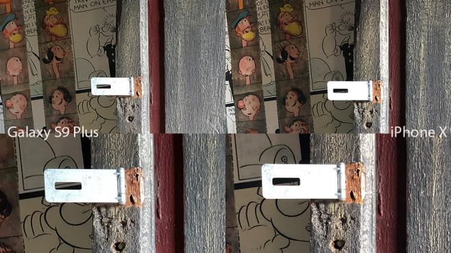 Apple iPhone X oder Samsung Galaxy S9 Plus: Wer schießt die besten Fotos? Galaxy S9 vs. iPhone X: Oben das Foto mit der Hauptkamera, darunter jeweils dasselbe Motiv mit dem Zoom-Objektiv (jeweils Bildausschnitte), ©COMPUTER BILD