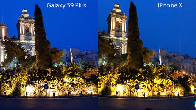 Apple iPhone X oder Samsung Galaxy S9 Plus: Wer schießt die besten Fotos? Galaxy S9 vs. iPhone X: Hell angeleuchtete Verkehrsinsel in der Dämmerung. ©COMPUTER BILD