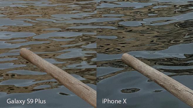 Apple iPhone X oder Samsung Galaxy S9 Plus: Wer schießt die besten Fotos? Galaxy S9 vs. iPhone X: Detailausschnitt auf 100 % Vergrößerung. ©COMPUTER BILD