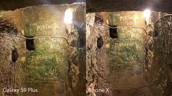 Apple iPhone X oder Samsung Galaxy S9 Plus: Wer schießt die besten Fotos? Galaxy S9 vs. iPhone X: Aufnahme in Katakomben bei sehr wenig Licht. ©COMPUTER BILD