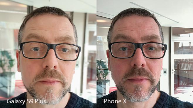 Apple iPhone X oder Samsung Galaxy S9 Plus: Wer schießt die besten Fotos? Links Samsungs Selfie-Fokus, rechts der Portrait-Modus der Selfie-Kamera im iPhone X. ©COMPUTER BILD