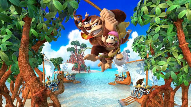"""Ausblick: Spiele-Releases im Mai 2018 Ursprünglich erschien """"Donkey Kong – Tropical Freeze"""" für die Nintendo Wii. Ab dem 4. Mai dürfen Switch-Nutzer das sonnige Jump'n'Run überallhin mitnehmen. ©Nintendo"""