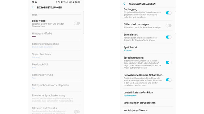 Samsung Galaxy S8 Sprachassistent Kamera©Screenshot: COMPUTER BILD