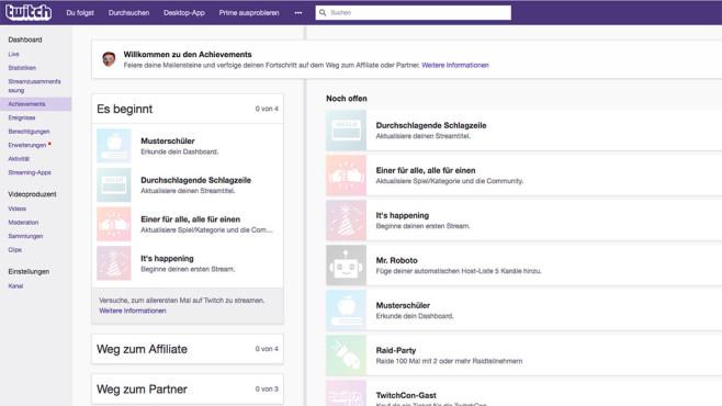 Twitch-Achievements ©Twitch