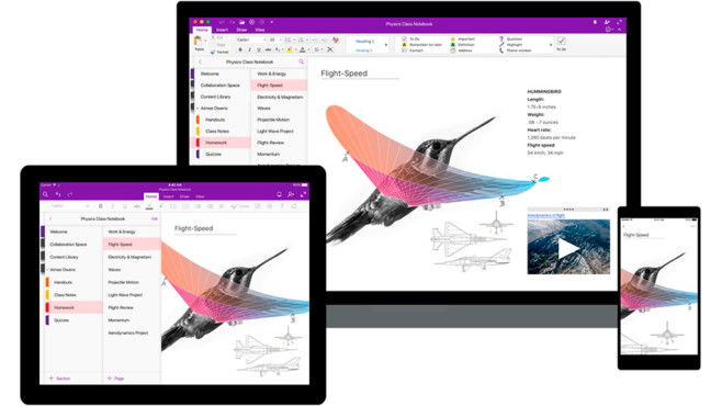 Microsoft OneNote on Laptop, Tablet and Smartphone © Microsoft
