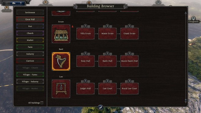 Total War Saga – Thrones of Britannia: Building Browser © Sega/Creative Assembly