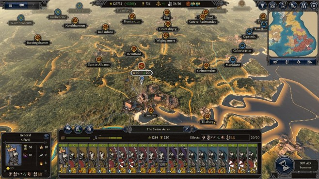 Total War Saga – Thrones of Britannia: Kampagnenkarte © Sega/Creative Assembly