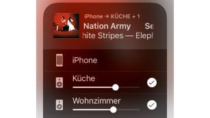 Kompakte und günstige Soundbar: Sonos Beam im Test Der Sonos Beam beherrscht auch Airplay 2: Ein iOS-Gerät kann darüber Musik auf mehrere Lautsprecher gleichzeitig übertragen. ©COMPUTER BILD