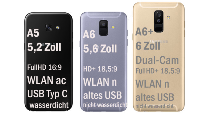 Samsung Galaxy A5, A6, A6 Plus im Vergleich ©Samsung/COMPUTER BILD