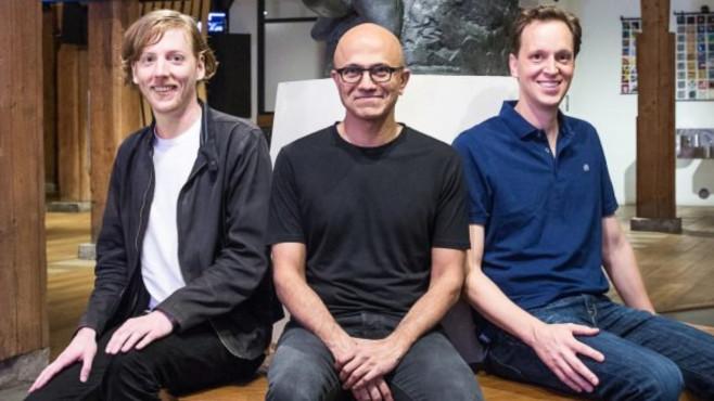 Chris Wanstrath, Satya Nadella, Nat Friedman ©Microsoft