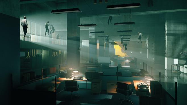 Control: Remedy enthüllt neues Actionspiel Ganz schön gruselig: Die Angestellten des mysteriösen Federal Bureau of Control schweben leblos an der Decke. ©Remedy