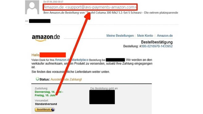 Betrügerische Amazon-Bestellbestätigung©Watchlist Internet