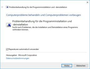 Microsoft-Tool gegen Probleme, die eine Installation oder Deinstallation von Programmen blockieren