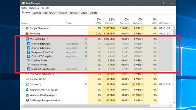 Windows 10 1803: Edge lädt automatisch ins RAM – unsichtbar ©COMPUTER BILD