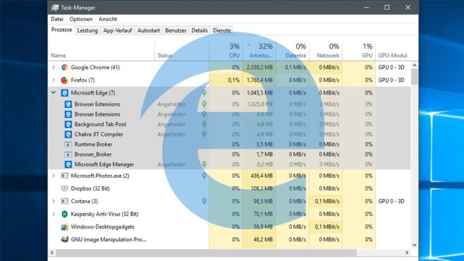 Windows 10 1803: Edge lädt automatisch ins RAM – unsichtbar! ©Microsoft, COMPUTER BILD