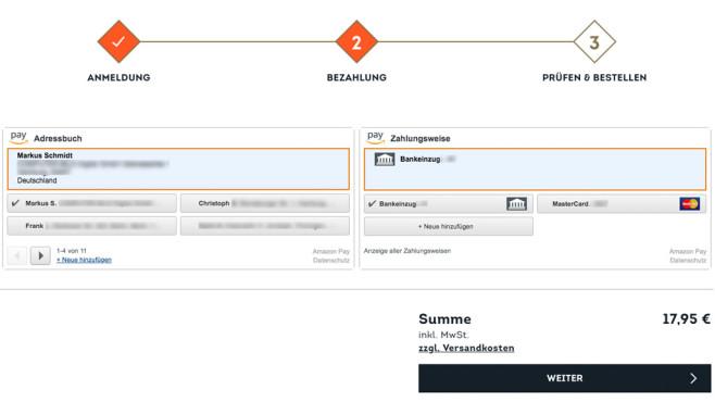 Amazon Pay: Auswahl von Versandadresse und Konto ©COMPUTER BILD