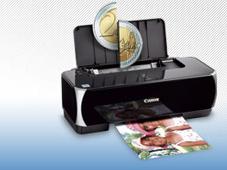 Druckertinte sparen, Druckkosten senken � in f�nf Minuten Drucken ist ein teurer Spa�: Bei einem 10x15-Foto sind schnell 50 Cent f�llig. ©Canon