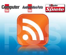 RSS – Nachrichten-Futter: Das standardisierte Logo weist auf RSS-Inhalte hin. Auf der COMPUTER BILD Webseite finden Sie die RSS-Feeds rechts oben über der Suche.