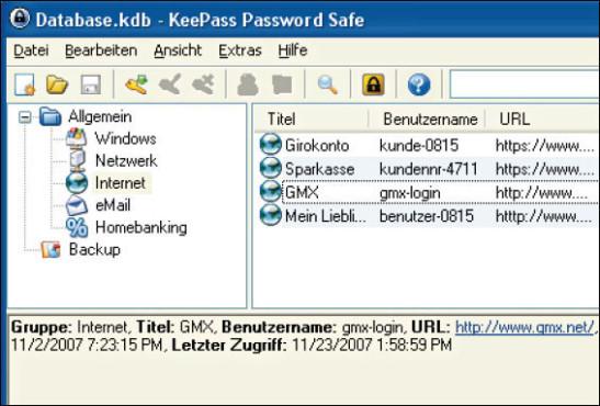 Test: Die empfehlenswerten Passwort-Manager ©KeePass