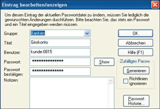 Test: Die empfehlenswerten Passwort-Manager ©Password Safe