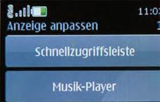 """Nokia 6500 Classic Über """"Anzeige anpassen"""" lassen sich die Schnellzugriffe auf dem Startbildschirm festlegen."""