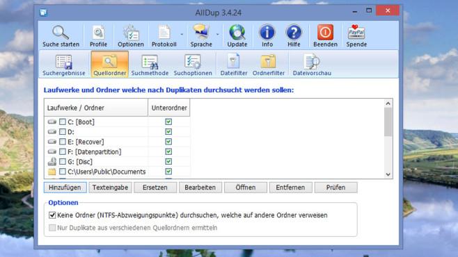 AllDup: Doppelte Dateien löschen