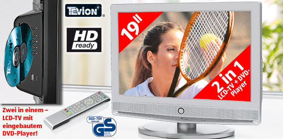 tevion lcd tv mit dvd player bei aldi s d audio video. Black Bedroom Furniture Sets. Home Design Ideas