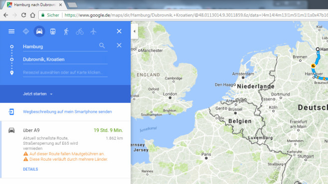 Google Maps: Routenplaner für Fußgänger und ÖVs ©COMPUTER BILD