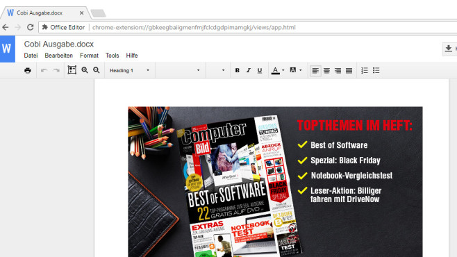 Office Editor für Google Chrome: Dateien ins Web laden ©COMPUTER BILD