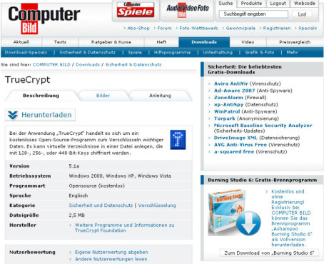 Installation von TrueCrypt: Download © COMPUTER BILD