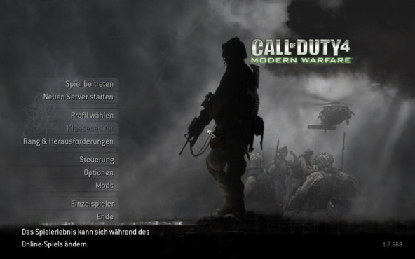 Actionspiel Call of Duty 4: Optionsmenü © Activision