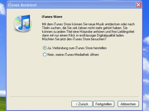 iTunes-Assistent: Fertig stellen
